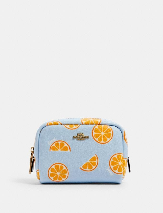 Coach Mini Boxy Cosmetic Case With Orange Print Im/Orange/Blue