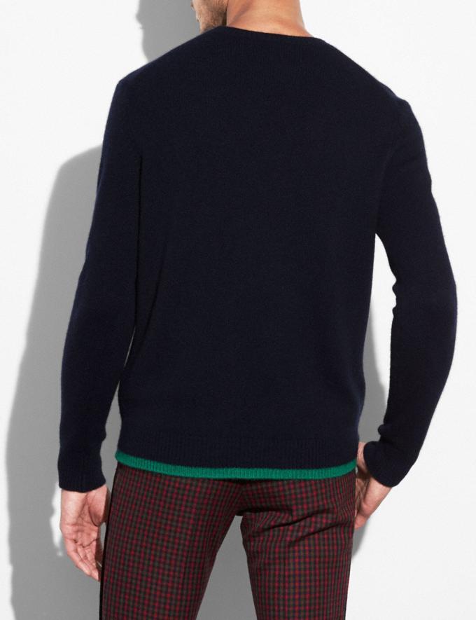 Coach Duck Intarsia Sweater Navy Men Ready-to-Wear Apparel Alternate View 2