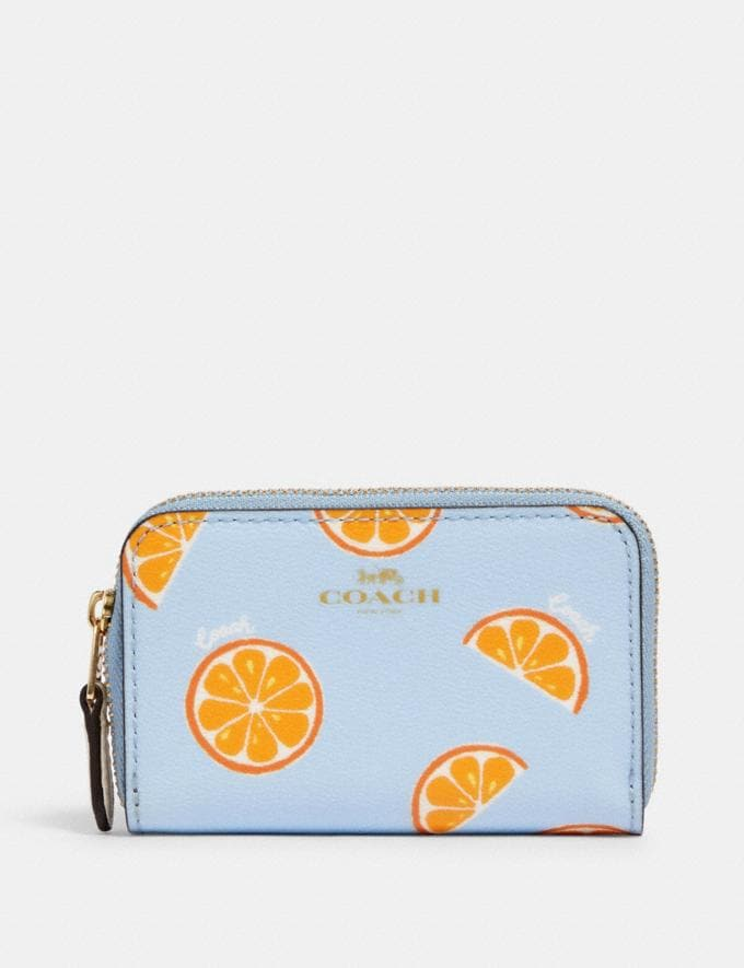 Coach Zip Around Coin Case With Orange Print Im/Orange/Blue