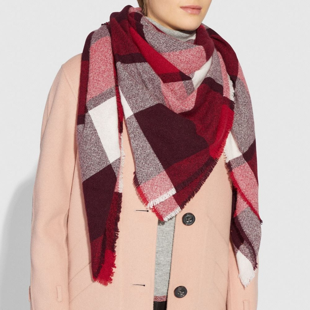 Coach Oversized Plaid Blanket Scarf Alternate View 1