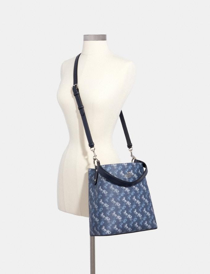 Coach Town Bucket Bag With Horse and Carriage Print Sv/Indigo Pale Blue Multi Women Alternate View 3