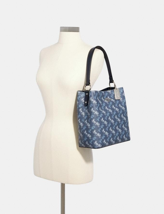 Coach Town Bucket Bag With Horse and Carriage Print Sv/Indigo Pale Blue Multi Women Alternate View 2