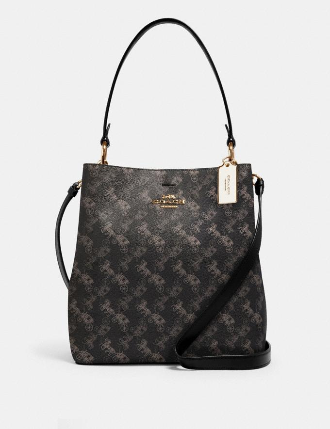 Coach Town Bucket Bag With Horse and Carriage Print Im/Black Grey Multi Women