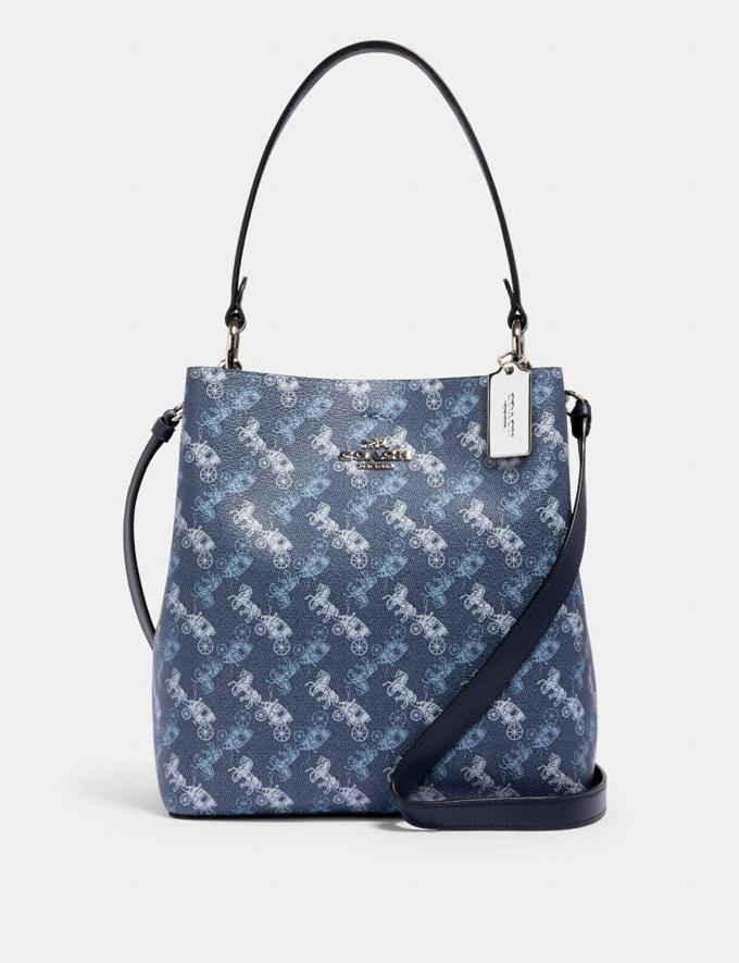 Coach Town Bucket Bag With Horse and Carriage Print Sv/Indigo Pale Blue Multi Women