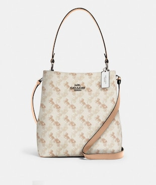 TOWN BUCKET BAG WITH HORSE AND CARRIAGE PRINT