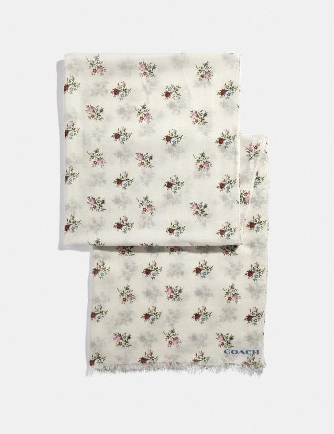 Coach Allover Cross Stitch Floral Print Oblong Scarf Chalk
