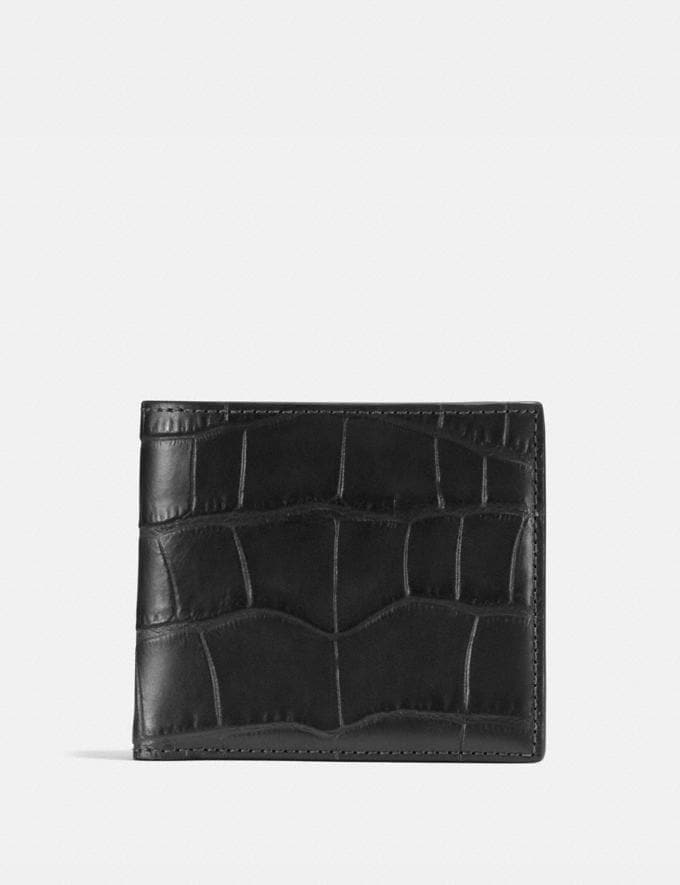 Coach Double Billfold Wallet Black Men Wallets Billfolds