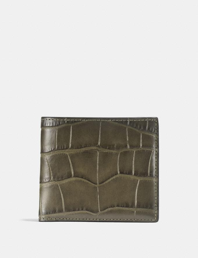 Coach Double Billfold Wallet Moss Men Wallets Billfolds
