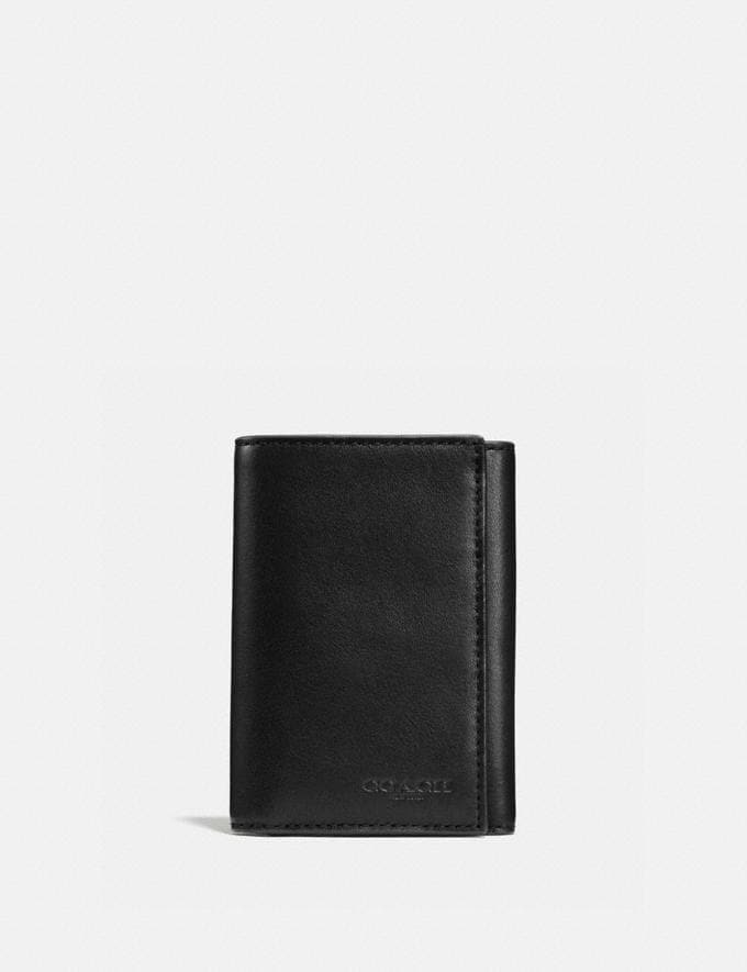 Coach Trifold Wallet Black New Men's New Arrivals Wallets