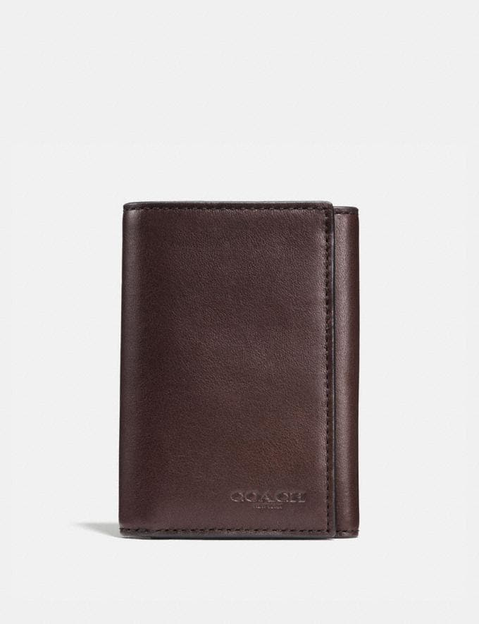 Coach Trifold Wallet Mahogany New Men's New Arrivals Wallets