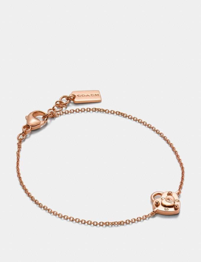 Coach Mini Demi-Fine Padlock Heart Bracelet Rosegold Women Accessories Jewelry