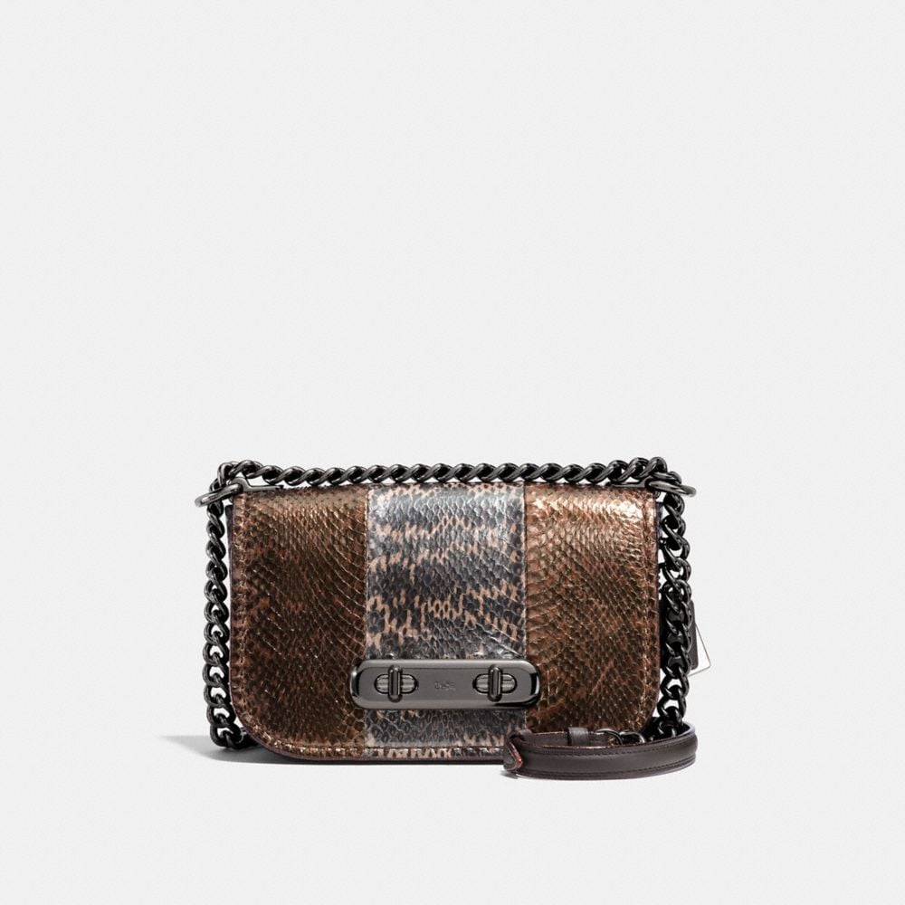 coach swagger shoulder bag 20 in metallic striped mixed snakeskin