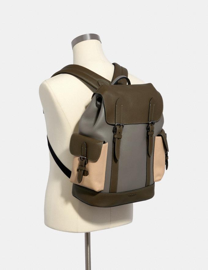 Coach Hudson Backpack in Colorblock Qb/Moss/ Grey/ Sandy Beige  Alternate View 2