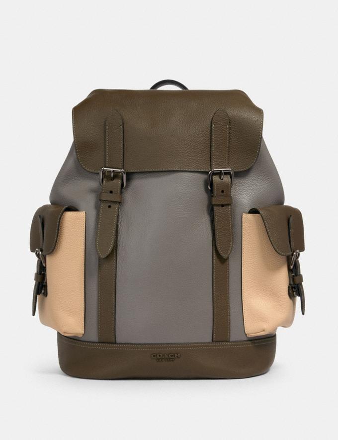 Coach Hudson Backpack in Colorblock Qb/Moss/ Grey/ Sandy Beige