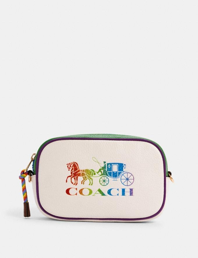 Coach Jes Convertible Belt Bag With Rainbow Horse and Carriage Im/Chalk Multi