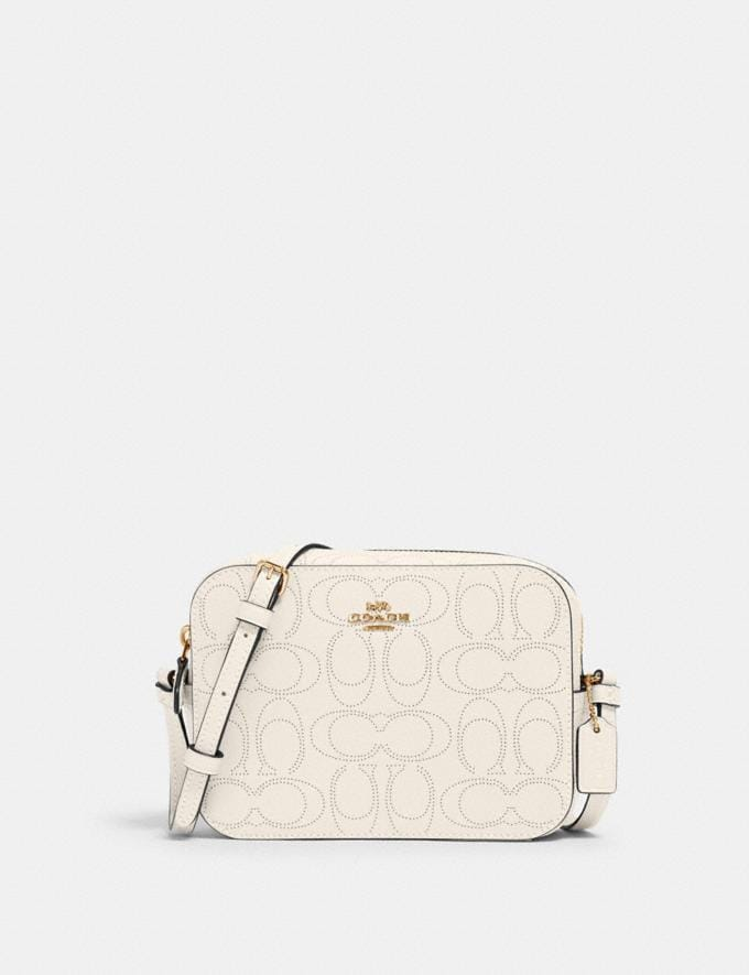 Coach Mini Camera Bag in Signature Leather Im/Chalk