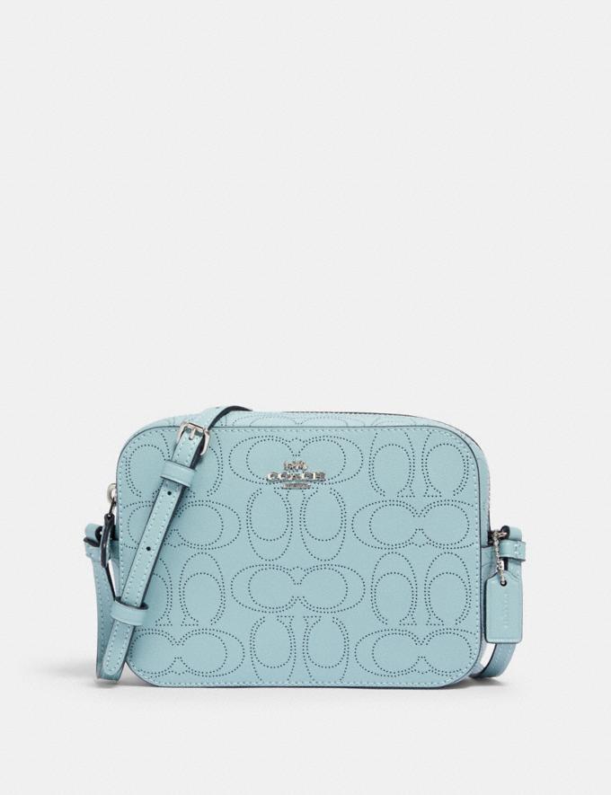Coach Mini Camera Bag in Signature Leather Sv/Seafoam