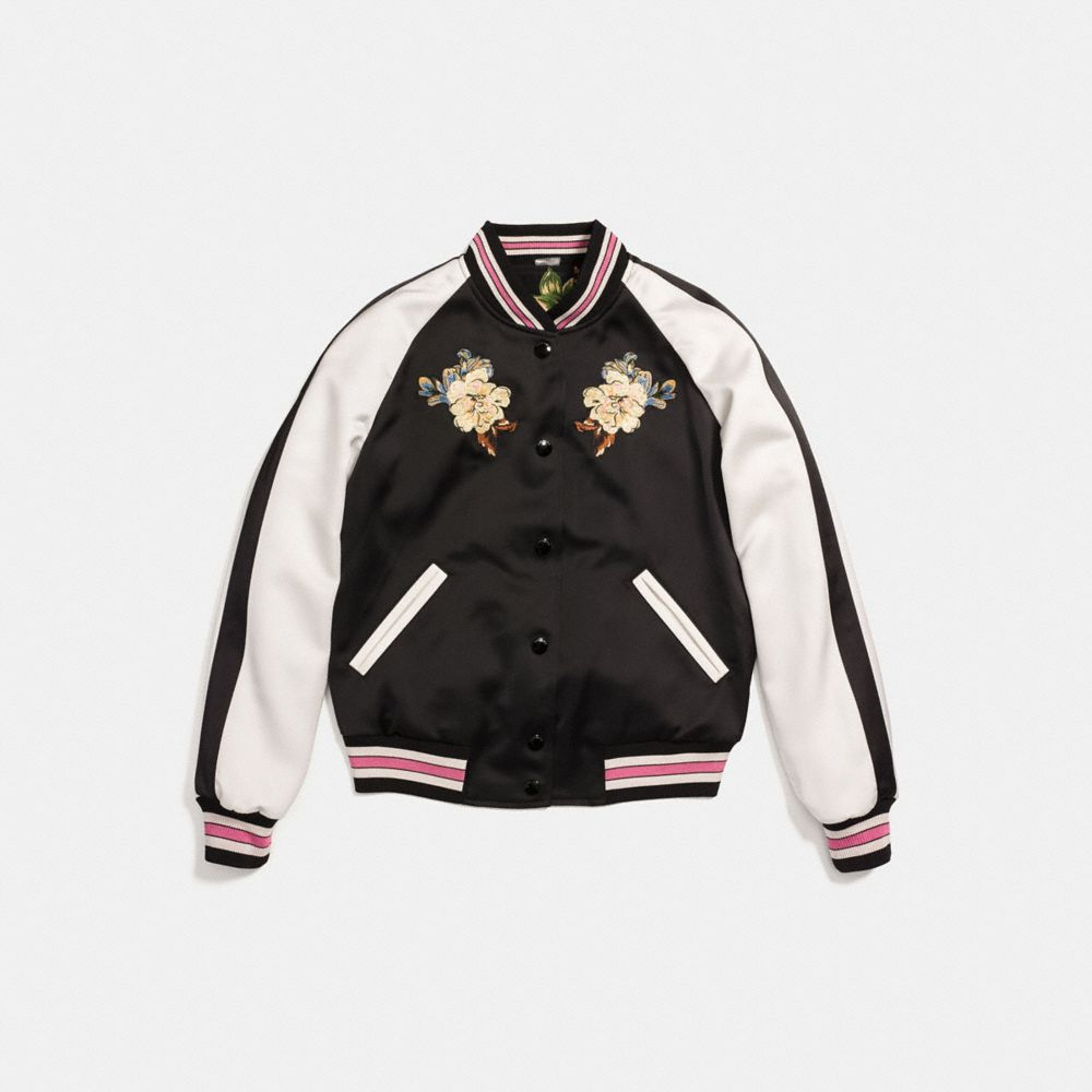Coach Reversible Satin Varsity Jacket