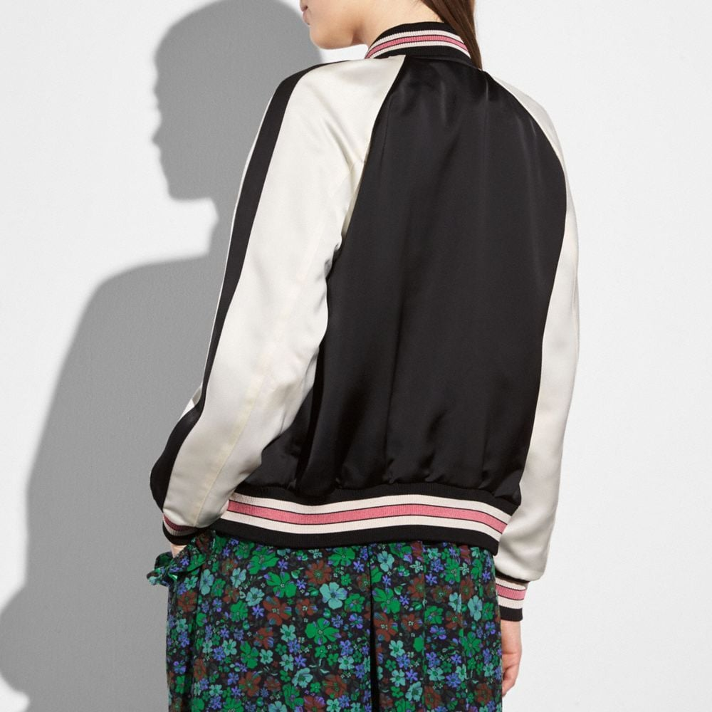 Coach Reversible Satin Varsity Jacket Alternate View 2