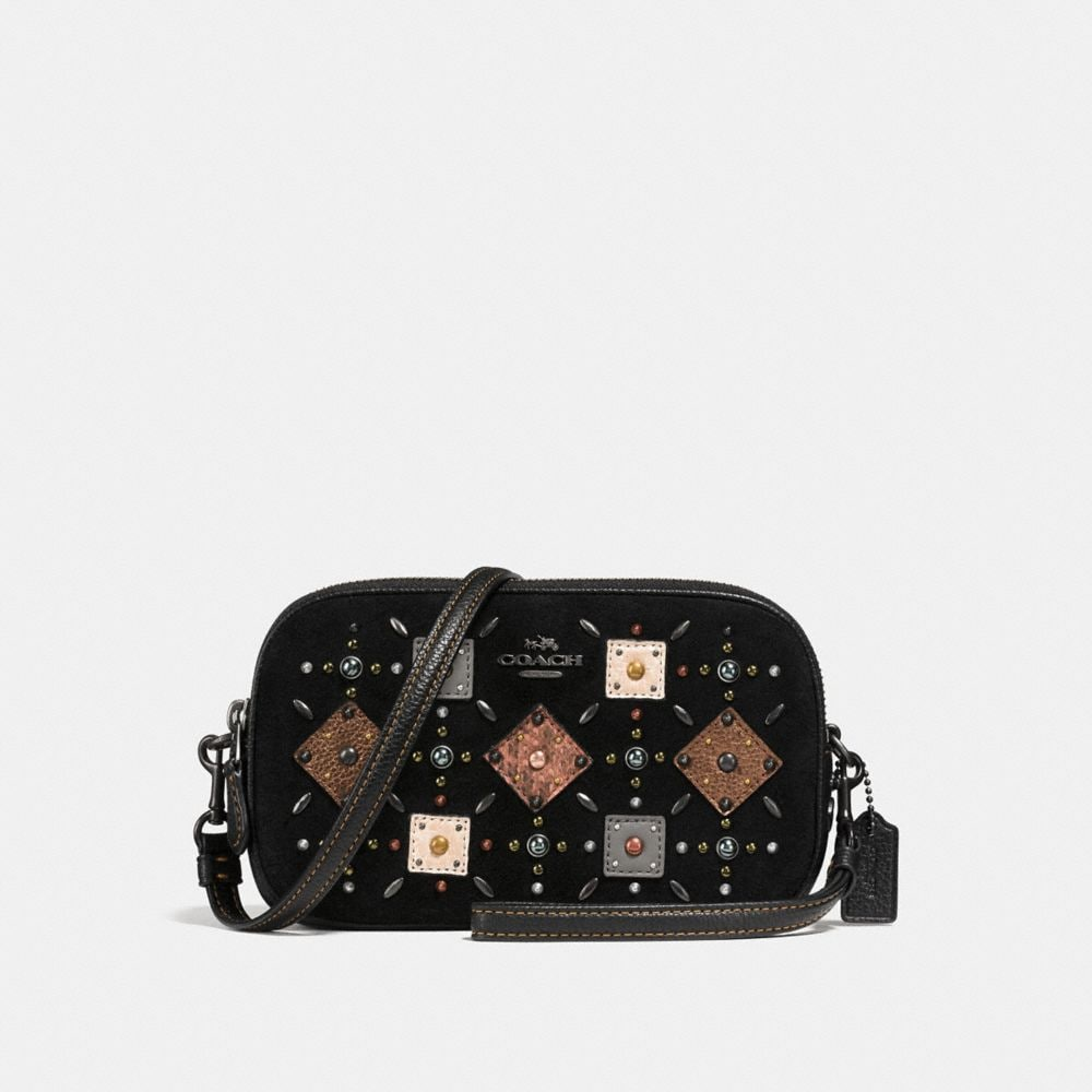 Coach Crossbody Clutch With Prairie Rivets and Snakeskin Detail