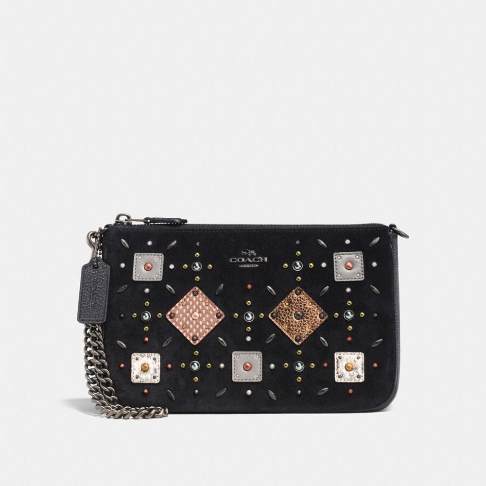 NOLITA WRISTLET 22 WITH PRAIRIE RIVETS AND SNAKESKIN DETAIL