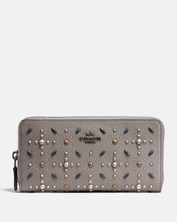 Coach Accordion Zip Wallet With Prairie Rivets Coach 4GxVMJNOS