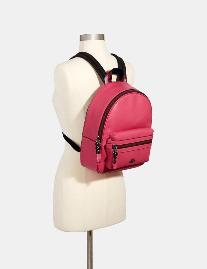 Coach Vale Medium Charlie Backpack Qb/Dark Pink Women Bags Alternate View 2