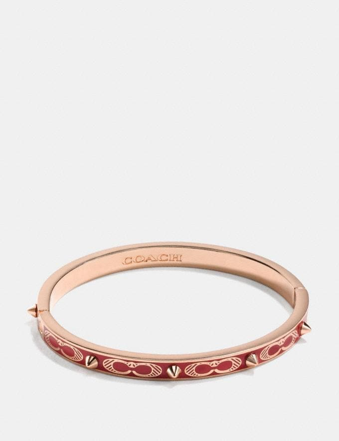 Coach Signature Studded Bangle Washed Red/Rosegold SALE Women's Sale Accessories