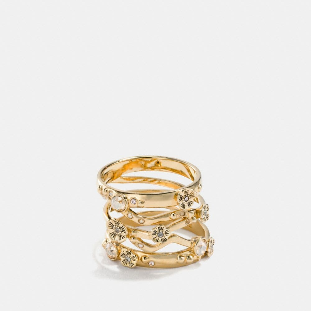 18k gold plated tea rose stacked ring