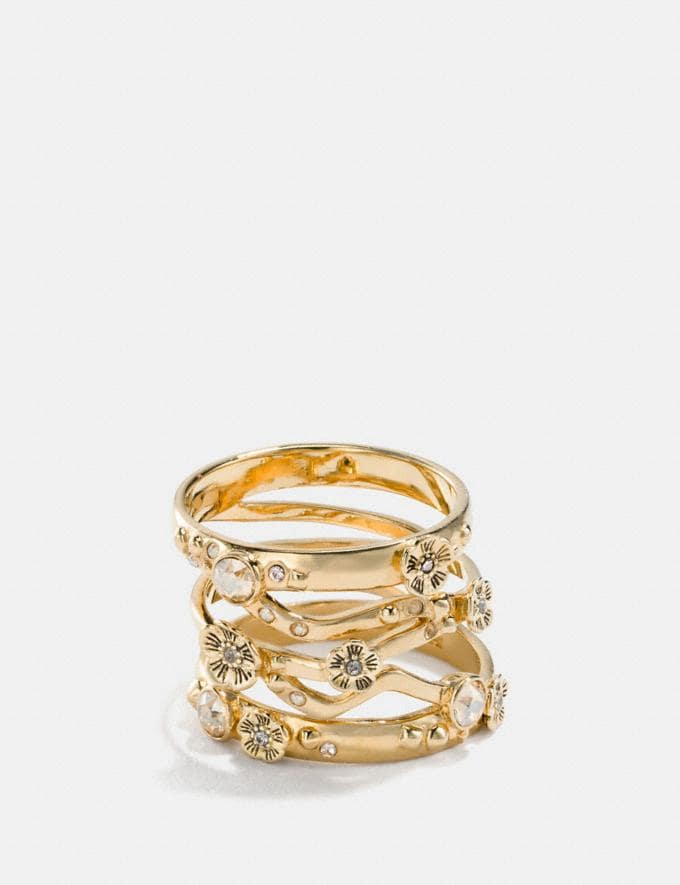 Coach Demi-Fine Tea Rose Stacked Ring Gold