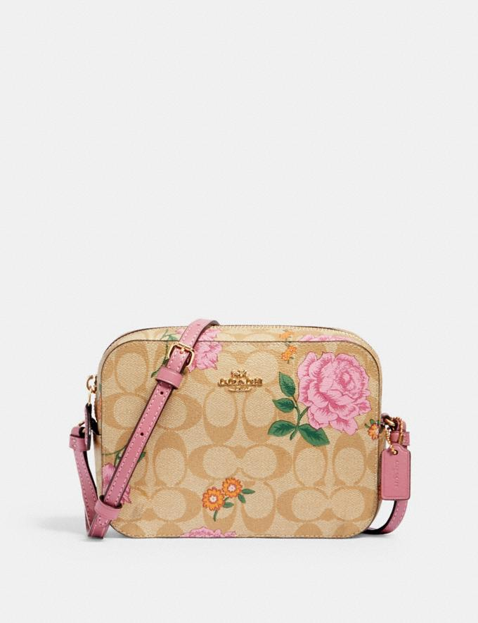Coach Mini Camera Bag in Signature Canvas With Prairie Rose Print Im/Khaki Multi