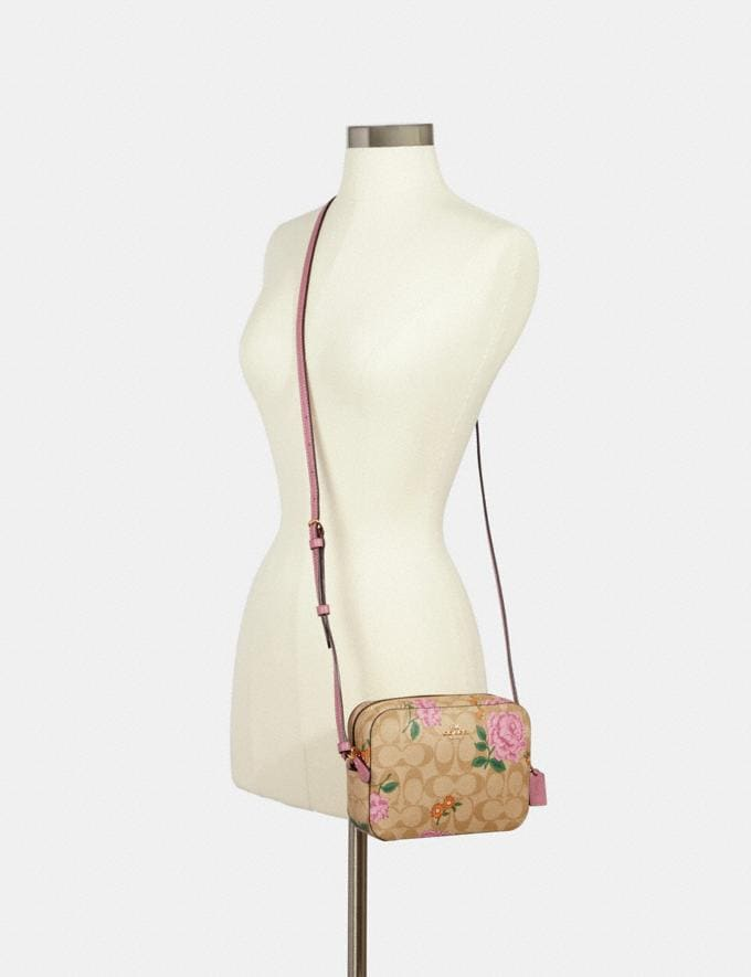 Coach Mini Camera Bag in Signature Canvas With Prairie Rose Print Im/Khaki Multi  Alternate View 2