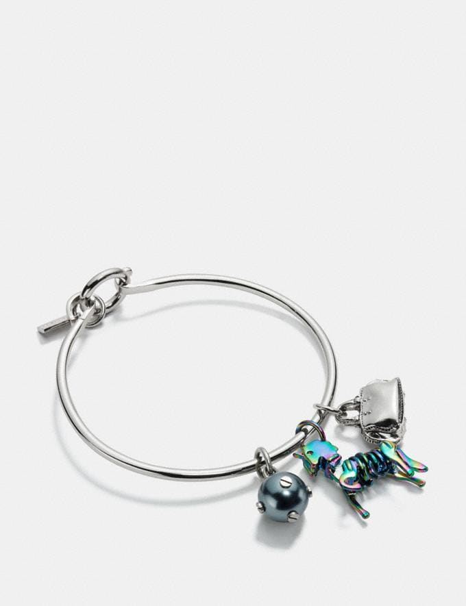 Coach Uni Charm Collectible Hoop Bangle Set Oil Slick/Silver