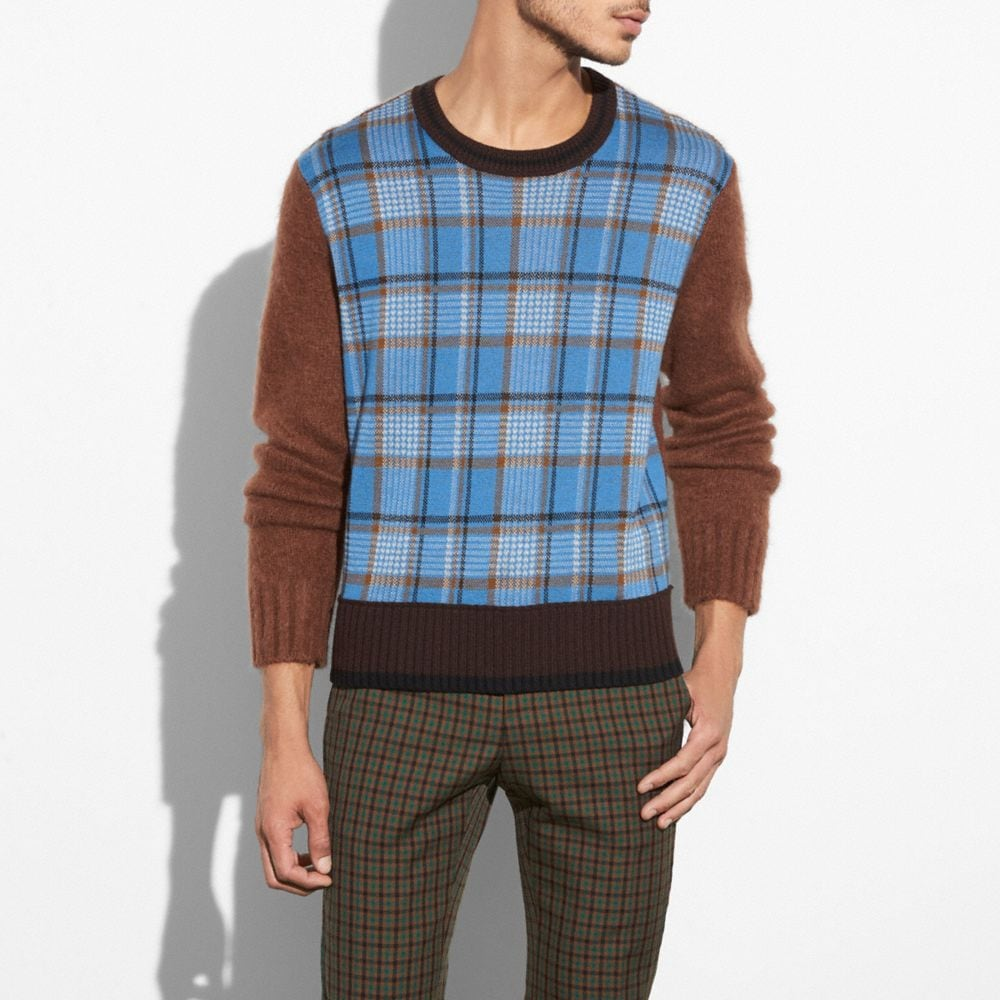 PLAID CREWNECK