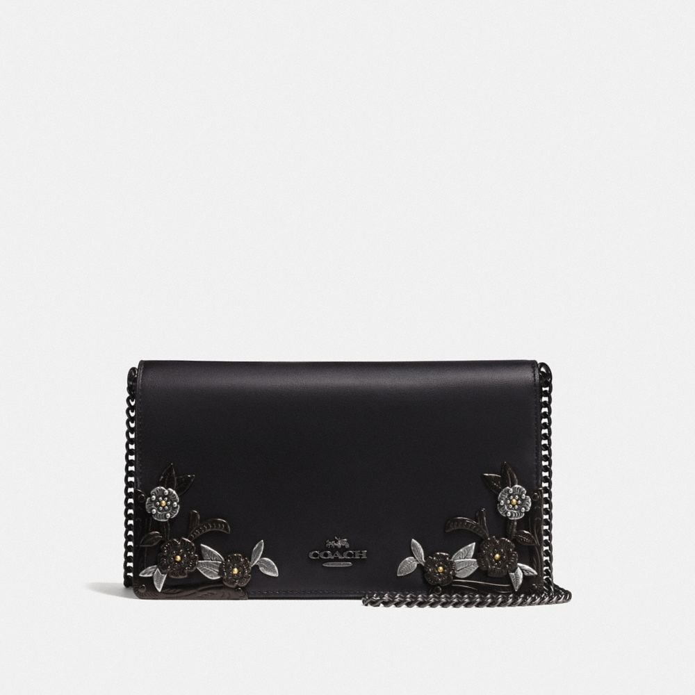 foldover chain clutch with metal tea rose