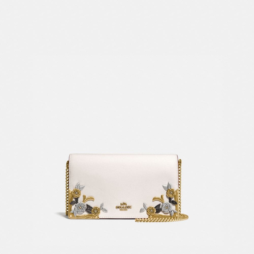 Coach Foldover Chain Clutch With Metal Tea Rose