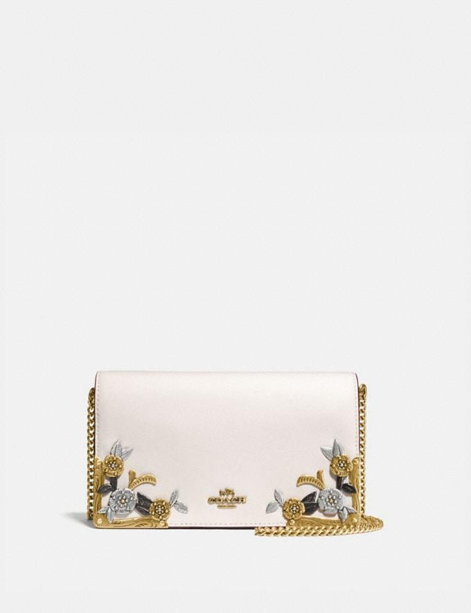 Coach Callie Foldover Chain Clutch With Metal Tea Rose Chalk/Brass Women Edits Mini Bags