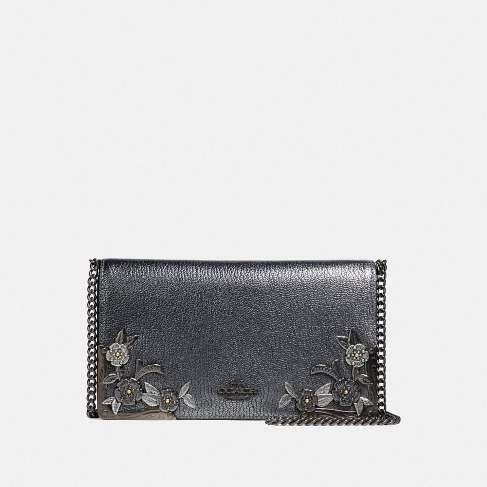 Coach Callie Foldover Chain Clutch With Metal Tea Rose - Women'S in Metallic Graphite/Pewter