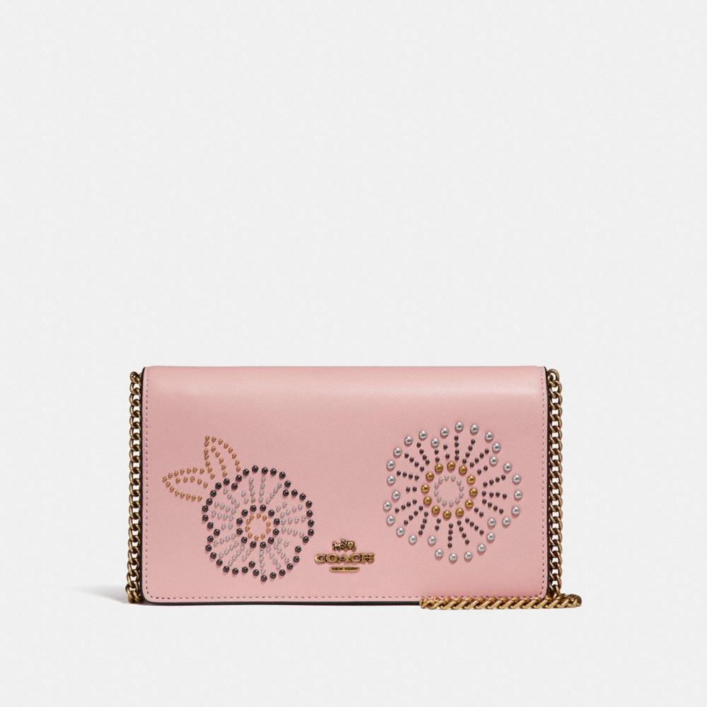 foldover chain clutch with tea rose rivets