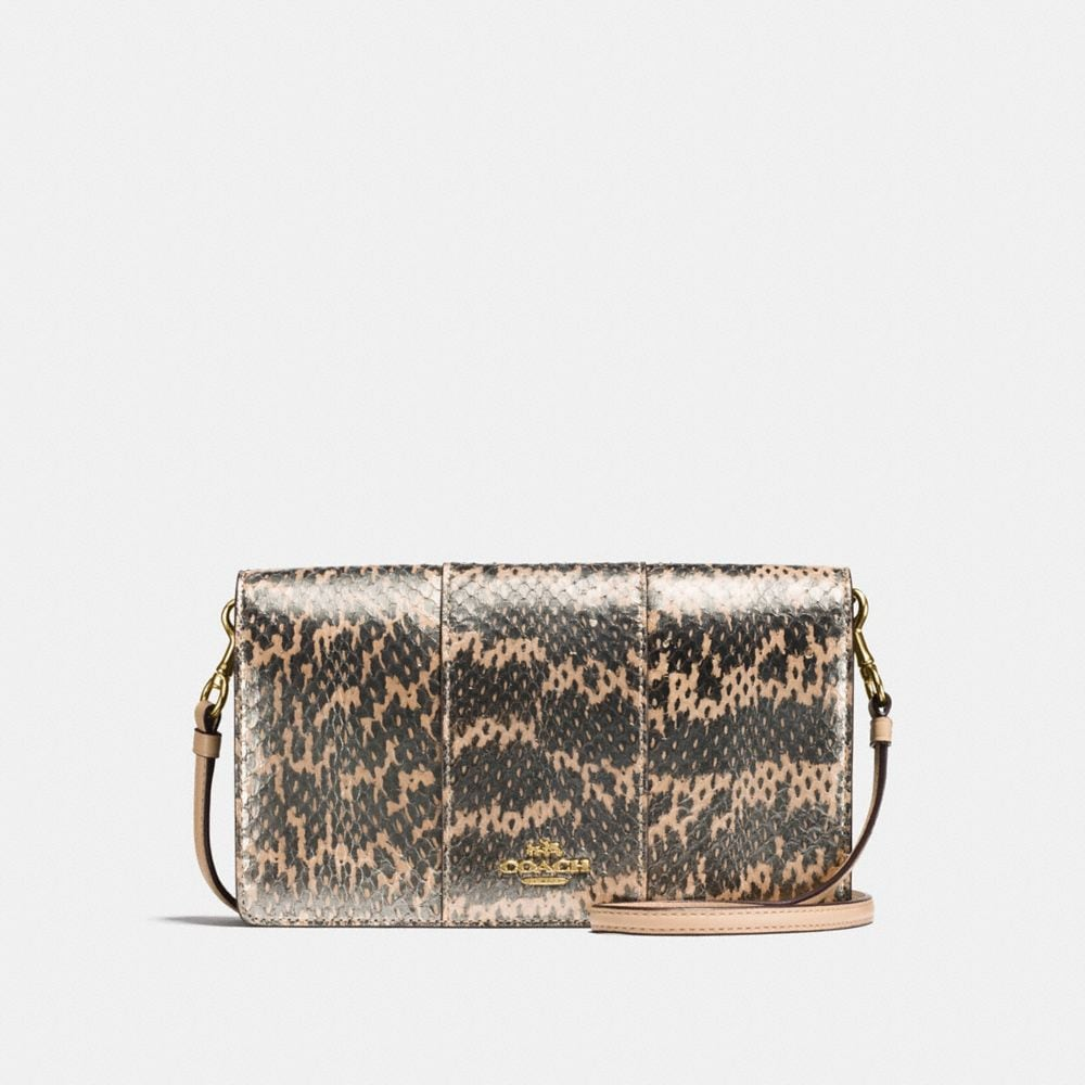 foldover crossbody clutch in pearlized snakeskin