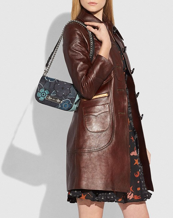 Coach Coach Swagger Shoulder Bag 20 With Patchwork Tea Rose and Snakeskin Detail Alternate View 4