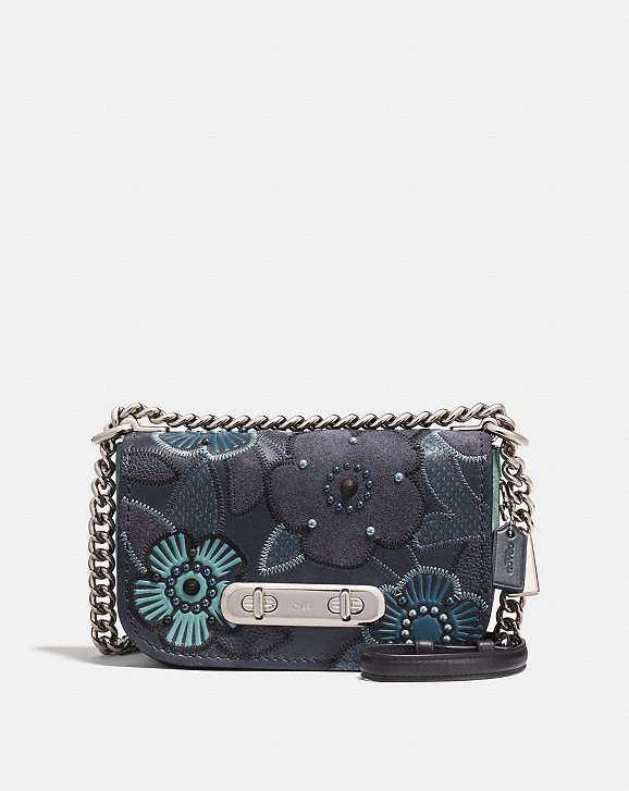 Coach Coach Swagger Shoulder Bag 20 With Patchwork Tea Rose and Snakeskin Detail