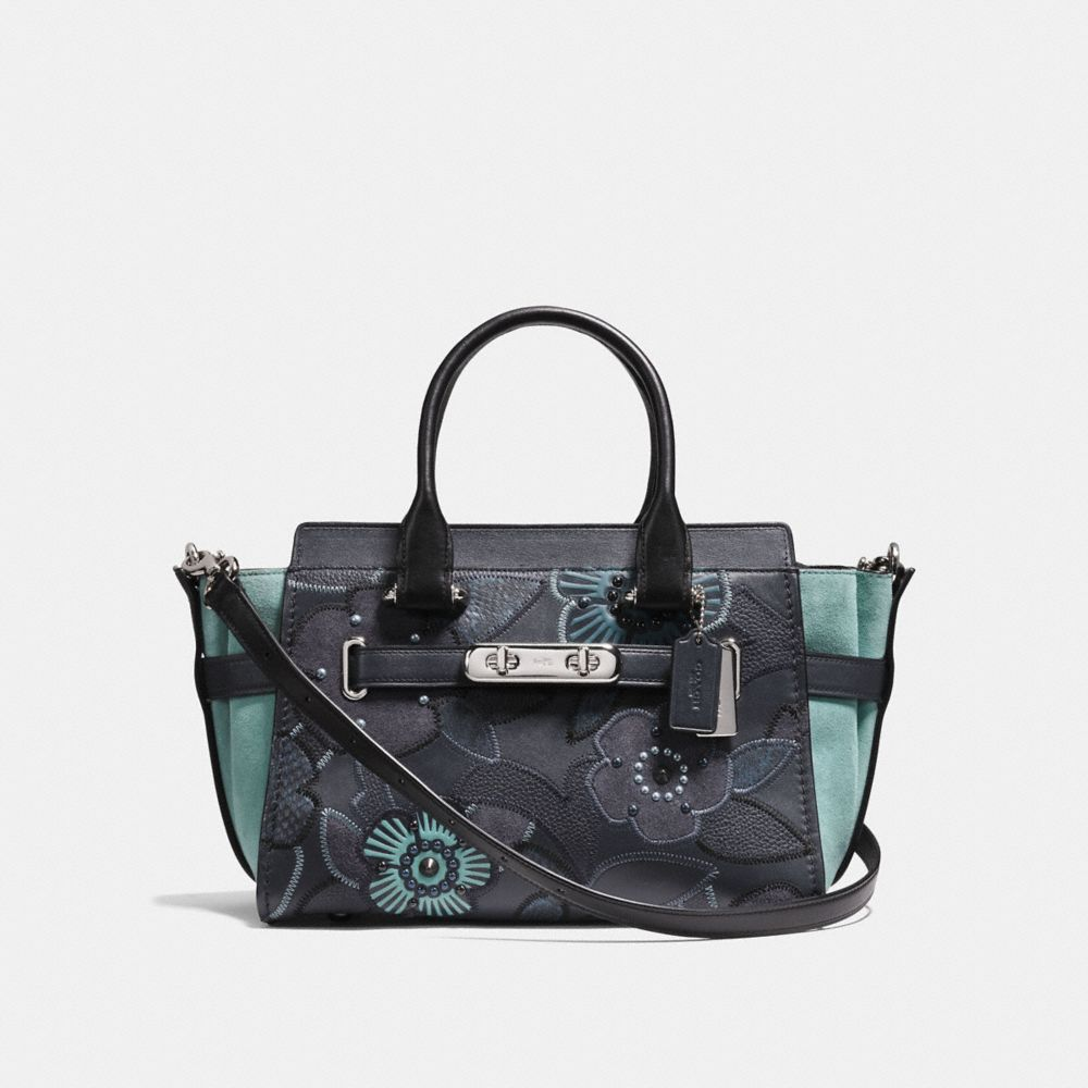 coach swagger 27 with patchwork tea rose and snakeskin detail