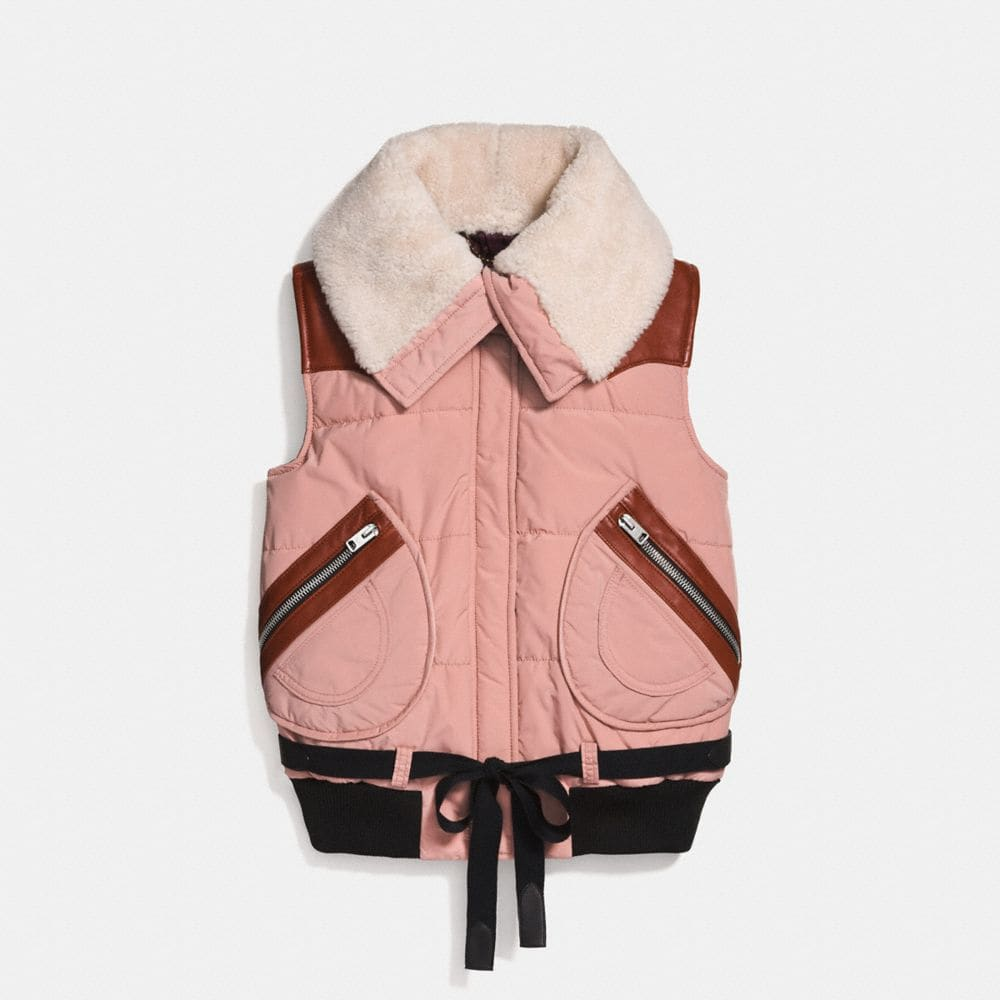 PUFFER VEST WITH SHEARLING