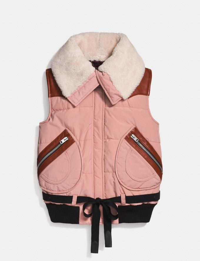 Coach Puffer Vest With Shearling Dusty Pink Staff Sale