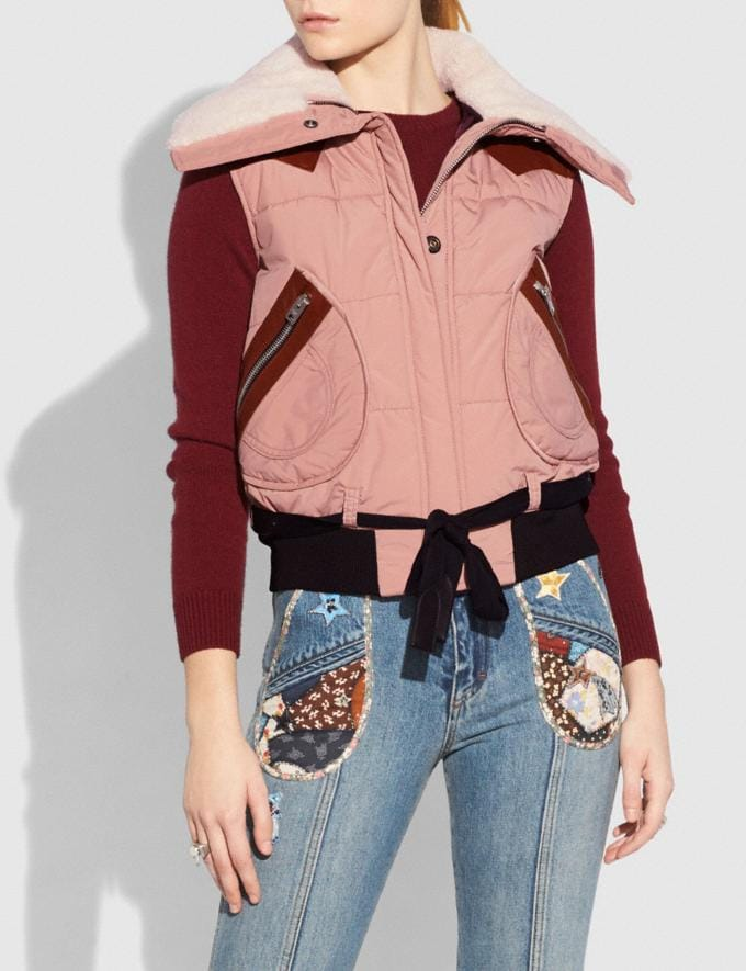 Coach Puffer Vest With Shearling Dusty Pink Staff Sale Alternate View 1