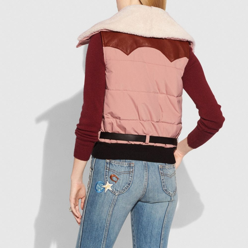 Coach Puffer Vest With Shearling Alternate View 2