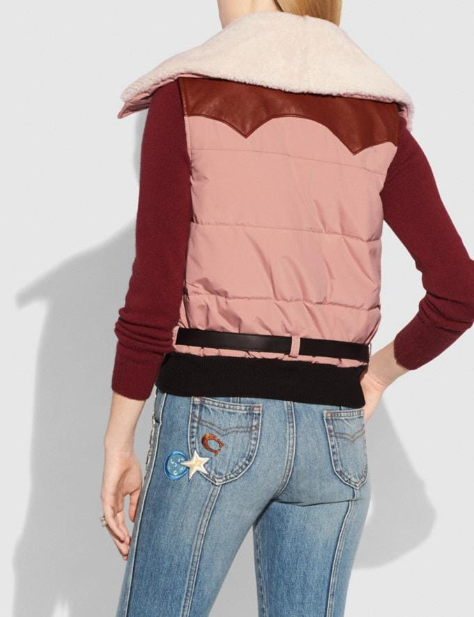 Coach Puffer Vest With Shearling Dusty Pink Staff Sale Alternate View 2