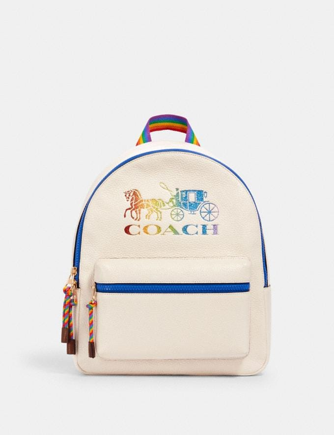 Coach Medium Charlie Backpack With Rainbow Horse and Carriage Im/Chalk Multi What's New Coach Pride