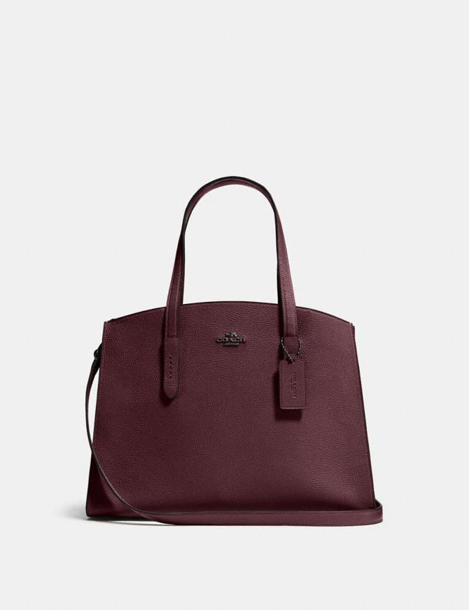 Coach Charlie Carryall Oxblood/Dark Gunmetal Women Bags Satchels
